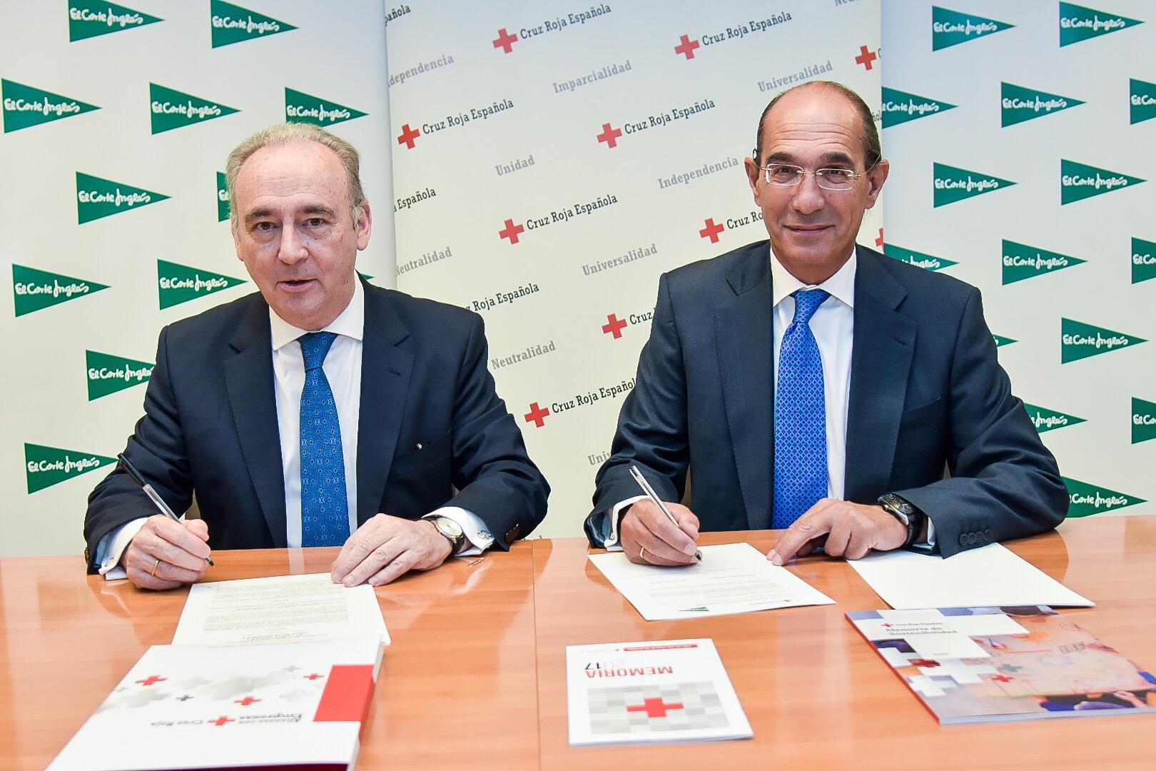 Leopoldo Pérez Suárez, Secretario General de Cruz Roja Española, y José Luis González Besada, Director de Comunicación y RRII de El Corte Inglés