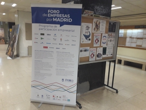 Cartel del Foro de Empresas por Madrid con la colaboración con Master de Patrimonio cultural UCM y UPM