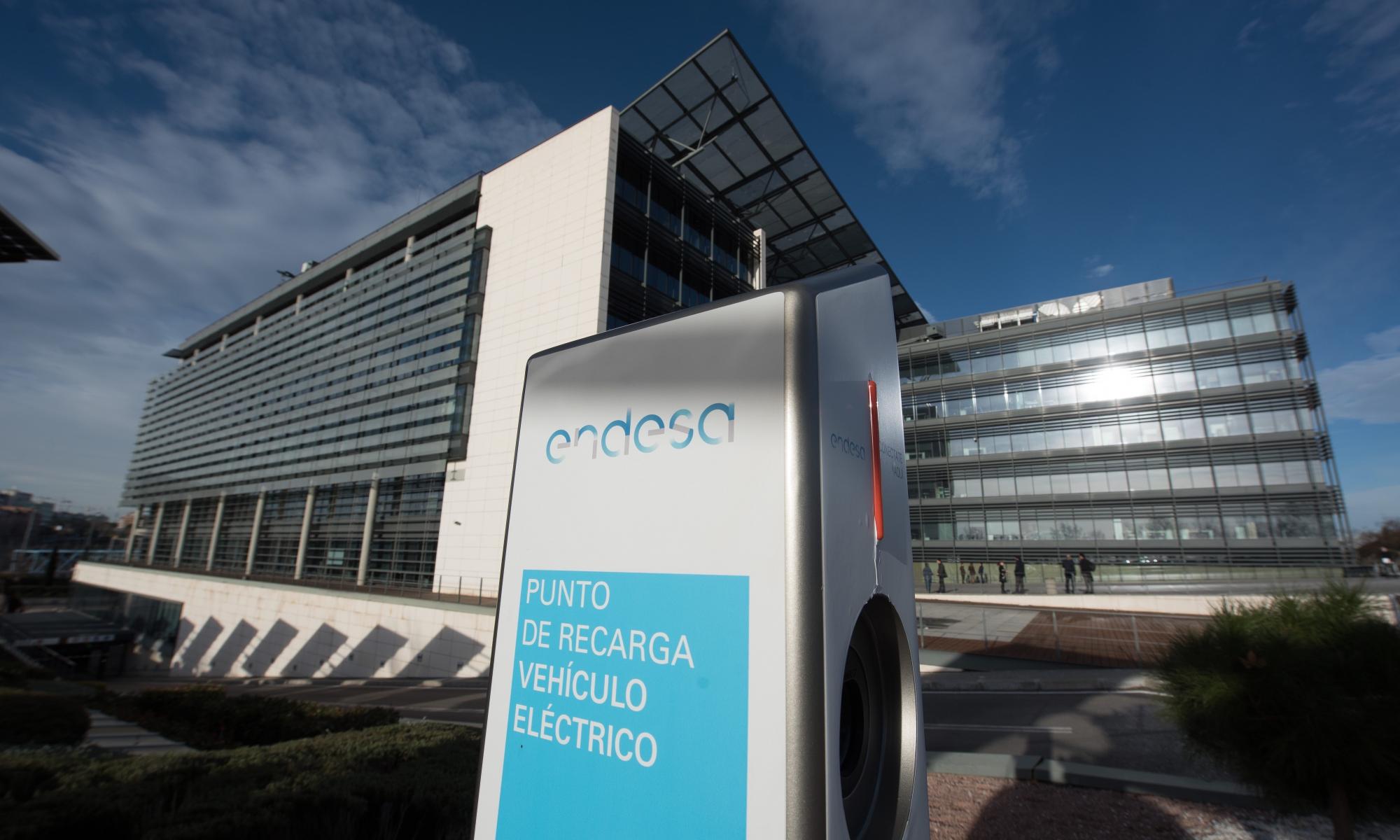 Punto de carga para vehículos eléctricos de Endesa en Madrid