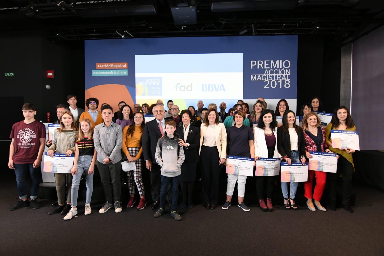 Entrega de los premios de BBVA de Acción Magitsrla 2018 a proyectos educativos innovadores